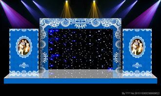 蓝色婚礼喷绘图片