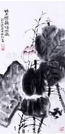 个人,一片松石山川、空旷云
