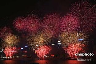 香港国庆节放烟花 空中拼出 中国心