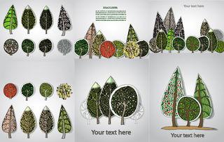 树木剪纸标签矢量素材矢量动植物站长素材