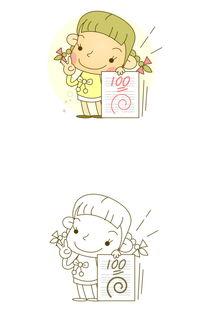 卡通线稿微笑女孩考100分图片素材 ai模板下载 0.27MB 美女大全 人物...