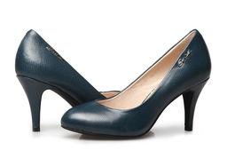 ...雅职业OL真皮高档浅口圆头套脚高跟鞋 黑色女式单鞋