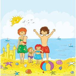 沙滩海滩幸福快乐的一家人图片
