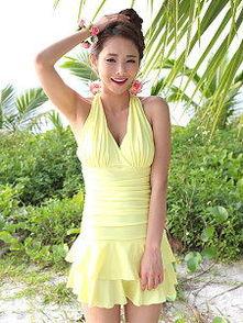 少女系抹胸裙式连体修身显瘦遮肚遮肚韩国温泉泳装游泳衣女-少女泳衣