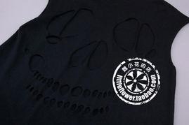 骷髅 摇滚朋克风 纯色T恤 tee 0520