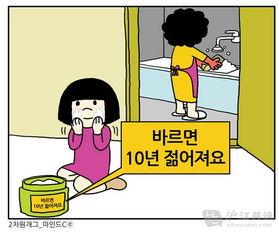 看漫画学韩语 二次元爆笑漫画 偷擦妈妈的护肤品
