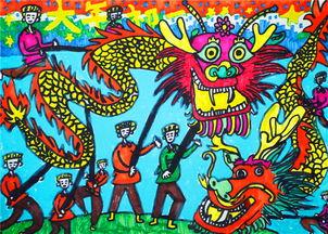 获奖小学生春节绘画图片