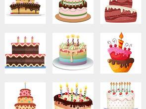 可爱卡通生日蛋糕快乐蜡烛庆祝设计素材免扣PNG图片 模板下载 33.92...