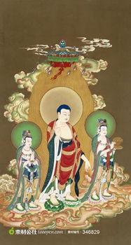 ...画西方三圣图 如来佛和观音菩萨像