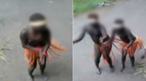 印度土著女性被当动物展览(视频截图)-印土著女性被当动物展览 裸...