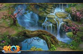 琛ㄦq 澶村q iav.-这儿山水连天,石缝中溪水淙淙,经过蜿蜒曲折的山路之后,汇聚到一...