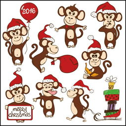 戴圣诞帽的卡通猴子