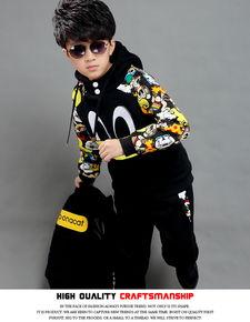 童装男童冬装套装儿童秋冬6卡通7卫衣三件套8冬季9加厚加绒5 12岁