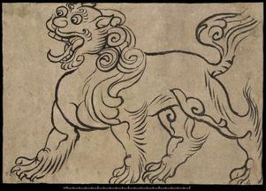 敦煌白描狮子图