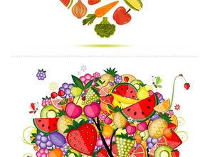 创意炫彩素食水果蔬菜矢量图形