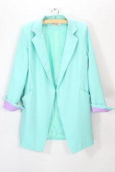 ...韩国款简约修身西装外套 百搭显瘦开衫外套中长款外套-中长款雪纺...