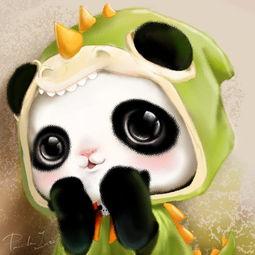 萌物 熊猫 壁纸 手绘 插画 动漫