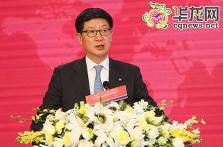 韩国CJ集团中国区总裁朴根太作主题演讲.      摄 -中国文化产业市场...