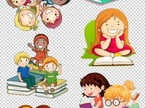 可爱卡通读书学习儿童PNG透明背景素材图片下载png素材 其他