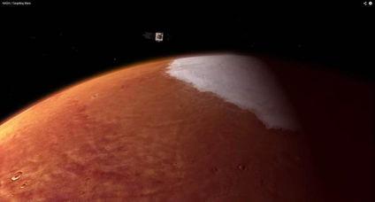 ...直播画面显示,MAVEN接近火星.-美国探测器进入火星轨道 将研究...