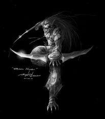 和对魔法力量和无限渴望中痛苦的... 完全成为了基尔加丹的仆人,虽然...