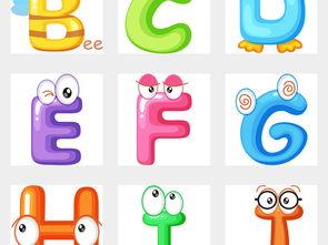 卡通可爱儿童26个英文字母大小写海报素材背景PNG图片 模板下载 26....