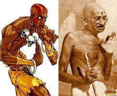 ...一个从印度来的和平主义者,)右:甘地(精神领袖,也来自印度,...