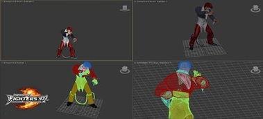 图7-复杂的3D建模过程将97的每个角色都还原到极致-拳皇97OL 正版...