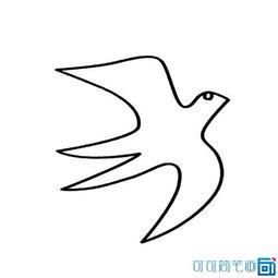 小燕子简笔画简单点-...禽类动物一笔画燕子的图片