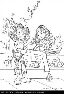 两个女孩聊天卡通手绘填色线稿JPG图片免费下载 编号3727474 红动网