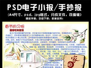 春节习俗电子手抄报模板图片下载psd素材 元旦手抄报