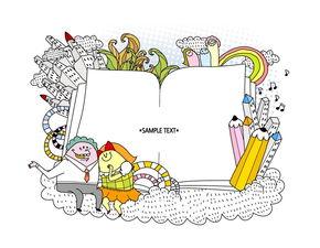 卡通图片素材 -拿出书本简笔画