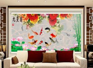 电视客厅沙发背景墙瓷砖背景墙九鱼图