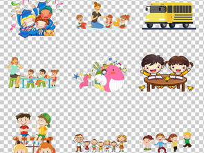 小朋友看书学习卡通图片免扣PNG格式素材 34