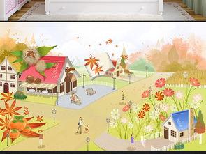 儿童房唯美卡通背景壁纸壁画