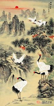 丹顶鹤轮廓图-易从网签约画家王宁国画赏析 松鹤延年 图