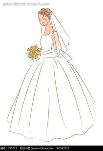 拿着花束的戴着头纱的新娘图片免费下载 红动网