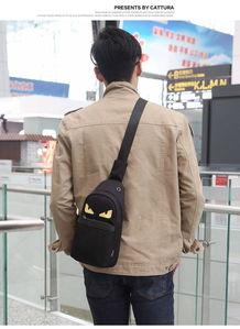 韩版男士胸包小怪兽胸前包男休闲潮女腰包情侣背包单肩斜挎包男包