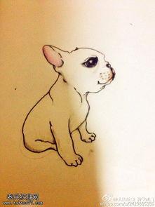 好看的简笔画手绘图案-呆萌狗卡通