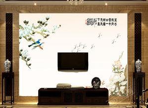 电视客厅沙发背景墙瓷砖背景墙杜鹃花鸟图片设计素材 高清psd模板下...