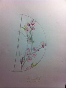 古风迷你手绘之桃花扇制作教程
