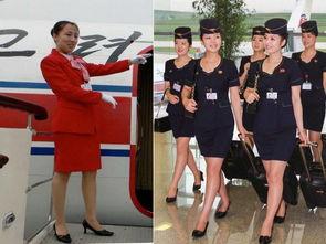 ...身着之前制服的高丽航空空姐;右图为更换身着2013年更换新制服的...