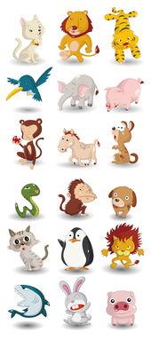 创意手绘卡通Q版小动物陆地动物大象...图片设计素材 高清EPS模板下...