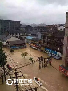 苏那罗的圣塔-台风苏迪罗带来强降雨 温州平阳水头镇街道被淹