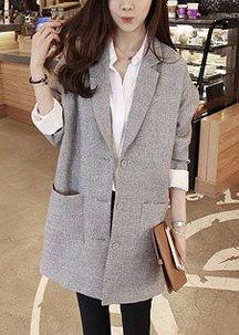 ...韩版麻料灰色小西服 中长款西装外套-灰色羊绒中长款西装