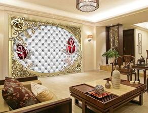 时尚欧式珠宝玫瑰花软包电视背景墙画