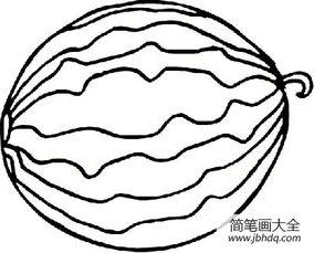 水果的简笔画画法-可爱的西瓜简笔画图片