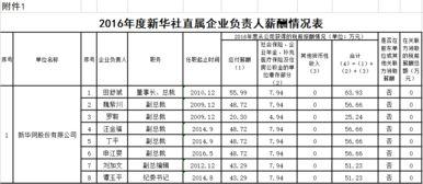 2016年度社直属企业负责人薪酬情况表