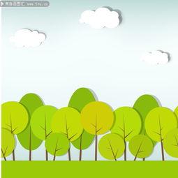 图片素材描述: 卡通 手绘 漫画 植物 树木矢量图 剪纸艺术 白云 云朵 ...