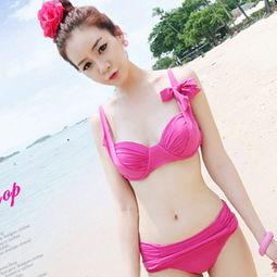 特价新款韩国代购同款分体钢托比基尼可爱少女枚红色游泳衣女泳装